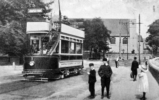 Tram on Nottingham Road to High Oakham, with St. Mark's Church in the background | Old Mansfield Society