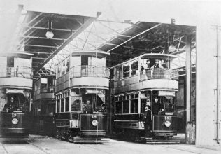 Trams in their garage on Sutton Road.
