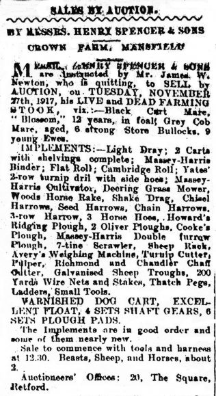 Newspaper advert for Crown Farm auction dated 22 November 1917 | Private collection