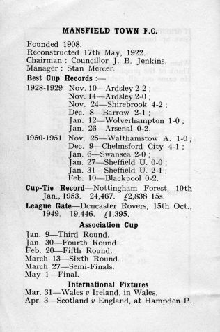 Mansfield Town FC - April 1954