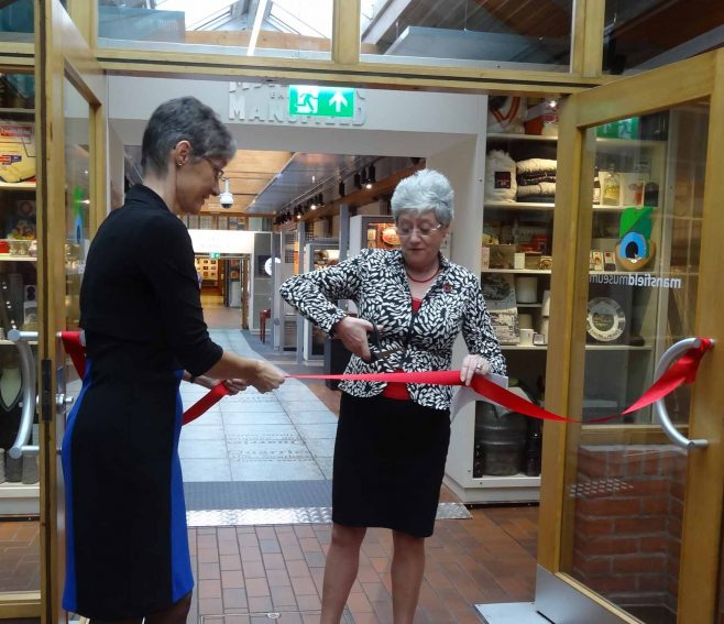 Liz Weston MBE (Curator) and Cllr Allsop who opened the exhibition | M & P Marples