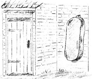Sketch of outside lavatory door, and tin bath on the wall | P Marples, drawn for my book 'Forest Town the Village that Grew Out of Coal'