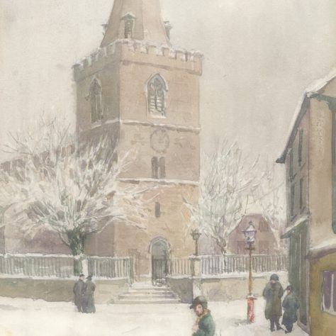 St Peter's church in the snow