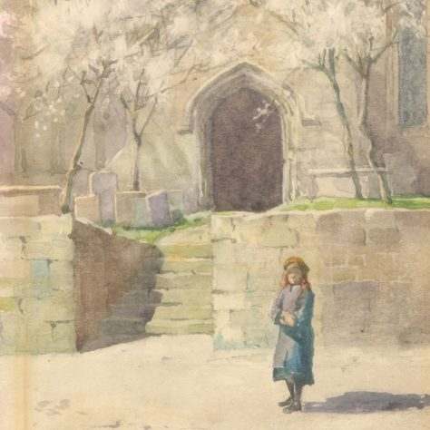 A Little Girl Outside Church