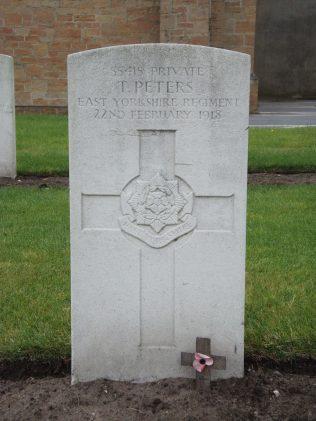 Pte T Peters headstone | P Marples