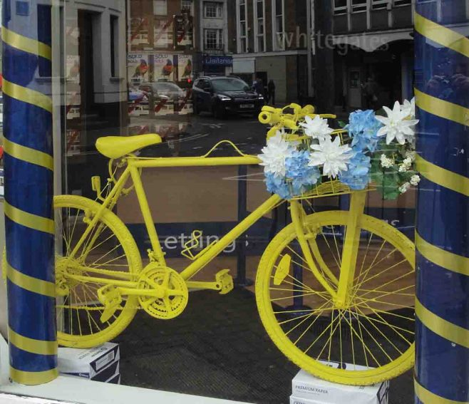 Whitegates sporting a yellow bike | P & M Marples