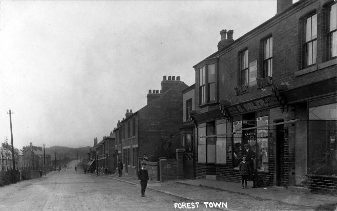 Shops on Clipstone Road, the middle one belonged to Shadrach Osler who was the sub post-master | P Marples Collection