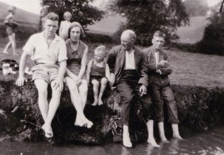 My Uncle Alf Sutcliffe, my aunt Edith 'Edy' Sutcliffe, my father Alan Sutcliffe, my grandad Frank Sutcliffe, my uncle Lawrence 'Lol' Sutcliffe in Pleasley Vale, circa 1935. | Glenn Sutcliffe