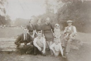 The Sutcliffe family in Pleasley Vale, Raymond, Ede, Lol, Dol, their mother Rose Ellen, grand daughter Marlene, their father Frank, Alf, Alan, and their dog 'Lady' late 1930's. | Glenn Sutcliffe