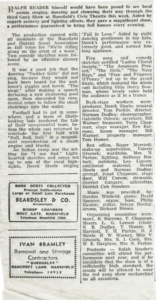 Scout Gang Show 1969 | Notts Free Press Jan 31st 1969